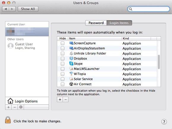 Check Login Items - Fix Mac Error Code 50