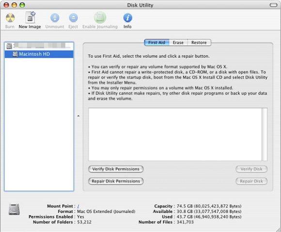 run disk utility - resolution of mac error code 50