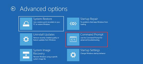 Advanced Options-0xc000000e Windows 10
