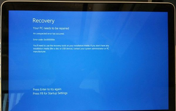 Recovery-Error 0xc000000e Windows 7