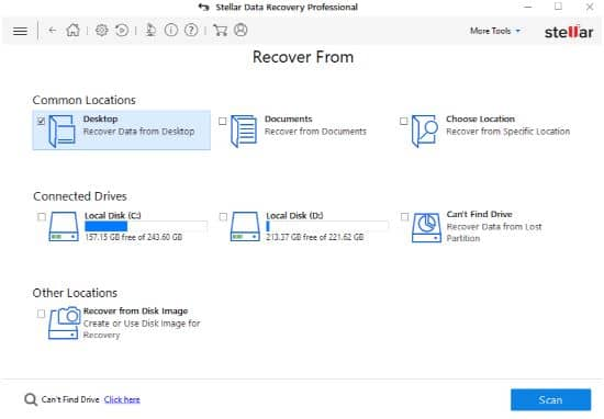 Select recover from - stellar phoenix data recovery