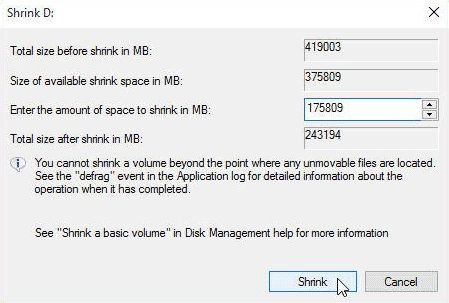 Shrink Drive D - add more space to partition windows