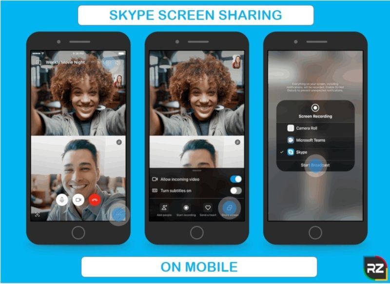 how to share your screen on mobile using skype