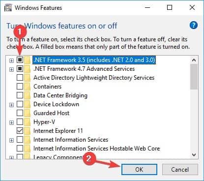 Make sure that .NET Framework is enabled - Kb4530684 - Error 0x800f081f