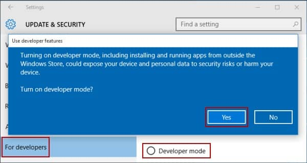 Turn Off Developer Mode - 0x800f081f Windows Update 1903