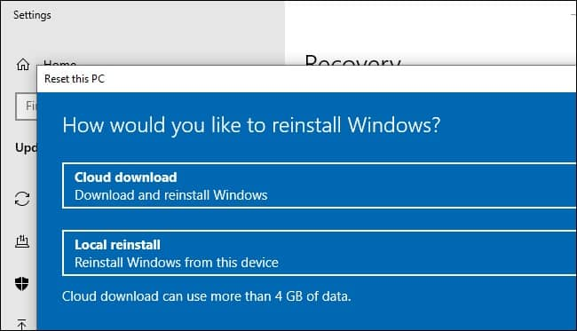 Cloud Download for Reinstalling Windows - New Features in Windows 10