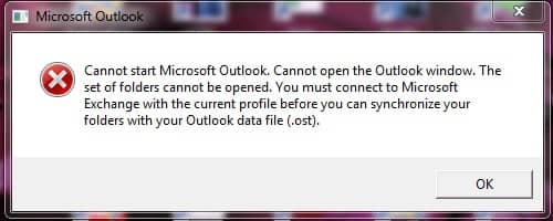 Outlook Cached Mode Not Updating Error