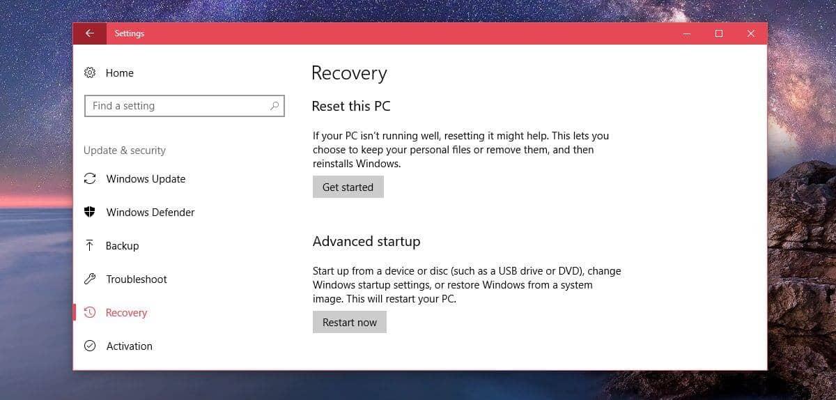 Reset Windows Installation - Error 0x80070005 Windows 10 Update 1909