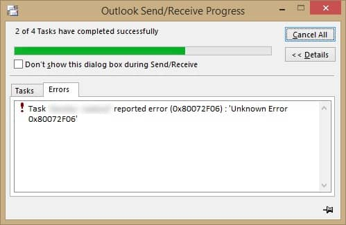 What Does the Outlook Error Code 0x80072f06 Mean