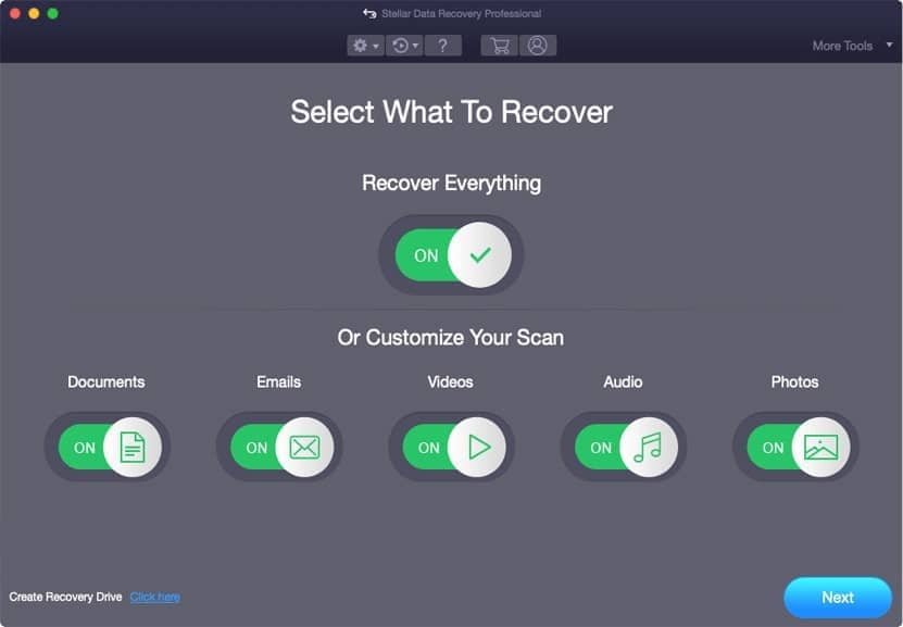 Select What to Recover - Stellar Mac Data Recovery Software