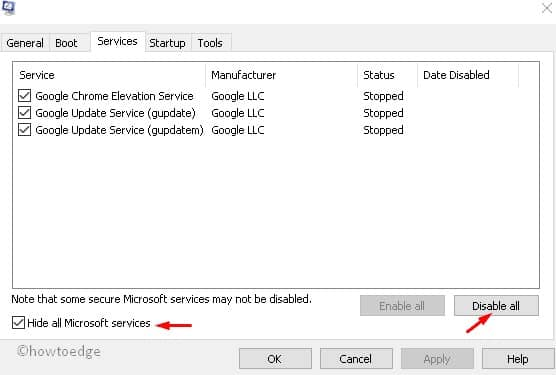 Click Disable All - fix 0x800f0922 Windows Server 2019
