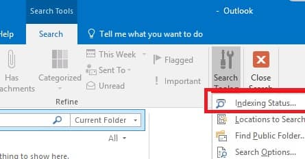 Repair Outlook Indexing Status - how to fix outlook search issues