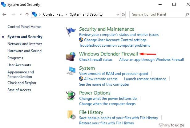 select the Windows Defender Firewall option - update error 0x800f0922