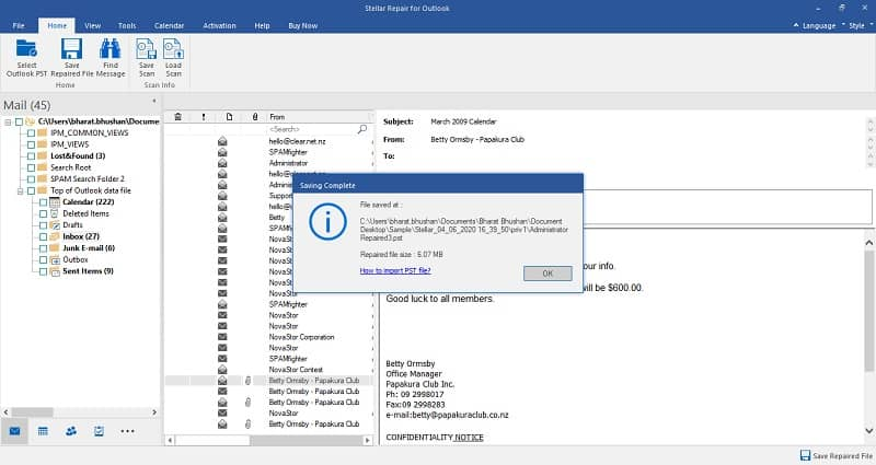 Saving Complete- stellar outlook pst recovery software
