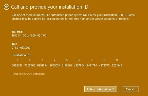 enter installation ID - 0x803f7001 windows 10