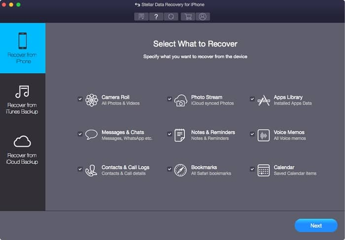 how to use Stellar iPhone Data Recovery Software - step 1