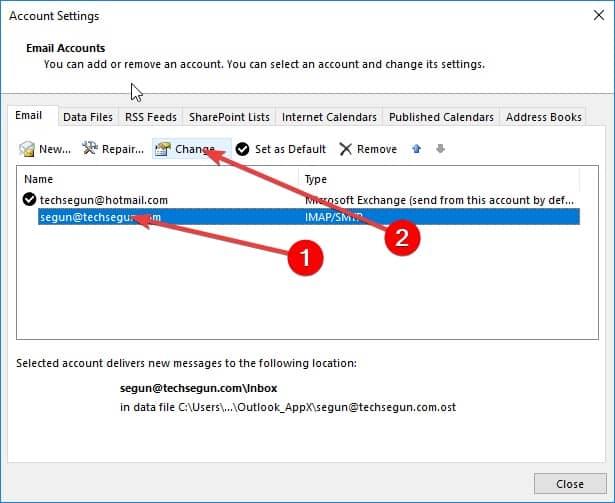 click change - smtp error (421) connection to server failed