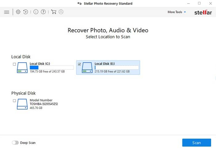 how to use Stellar photo recovery -step 1
