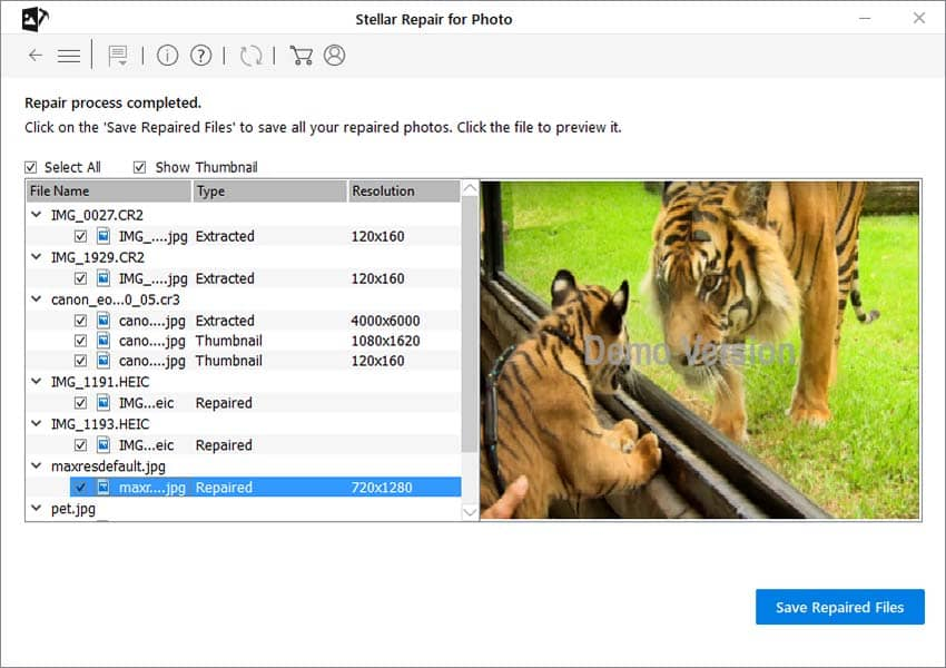 select save repaired files - photo repair online